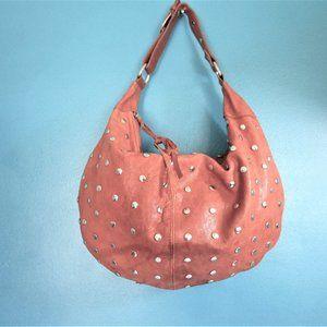 Maurizio Taiuti Gold Studded Leather Hobo Bag